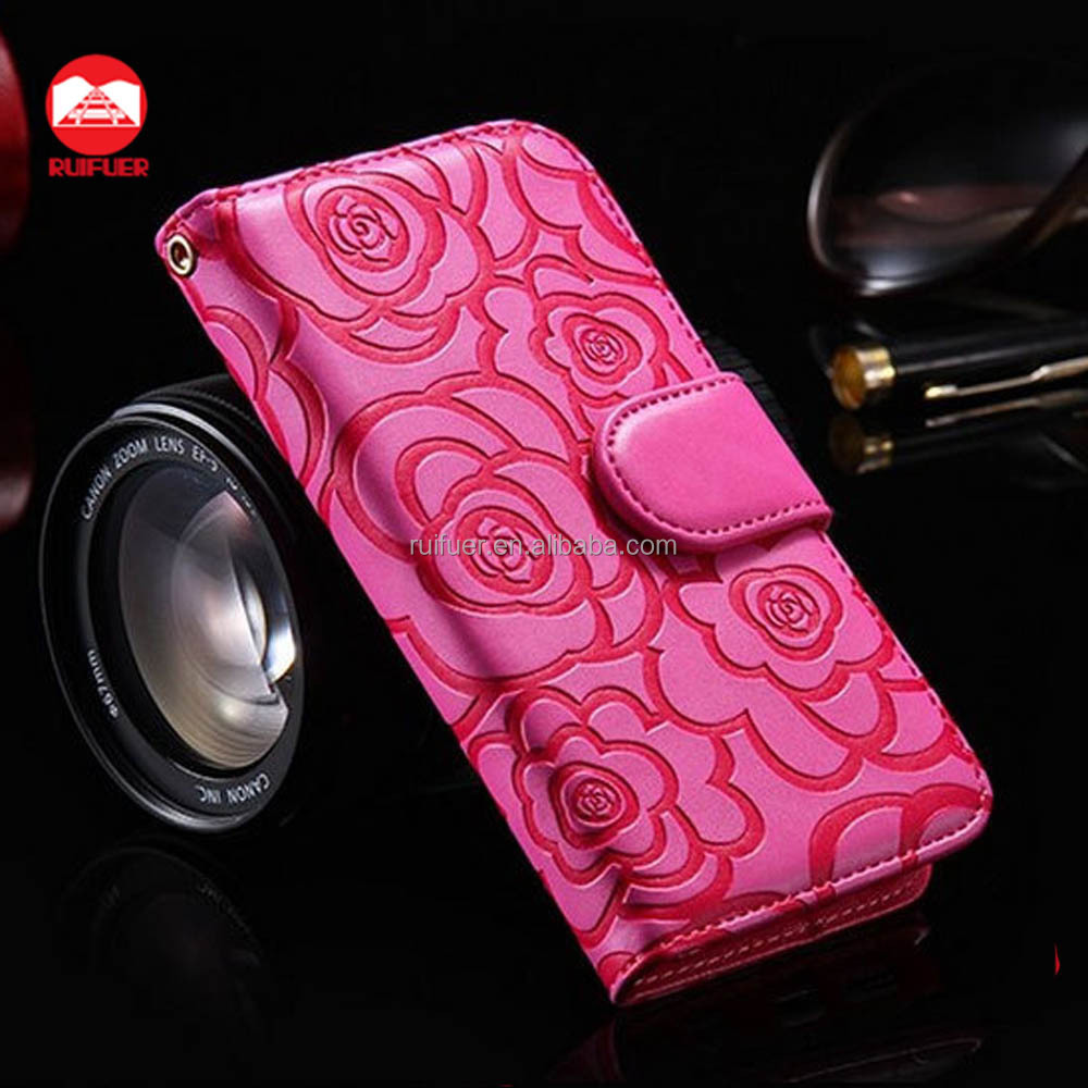 Factory Wholesale Card Slots Stand Magnetic Flip Folio PU Flower Camellia Wallet Leather Case For Samsung Galaxy S7 Edge S6 S5