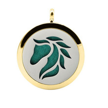 Small MOQ Round Shape Horse Head Aroma Diffuser Necklace Pendant, Aromatherapy Necklace Diffuser Pendant