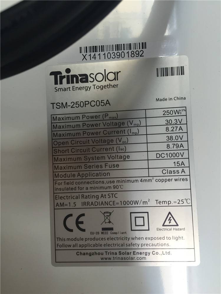 Trina Solar Panel 255w With Original Package And Label Tsm