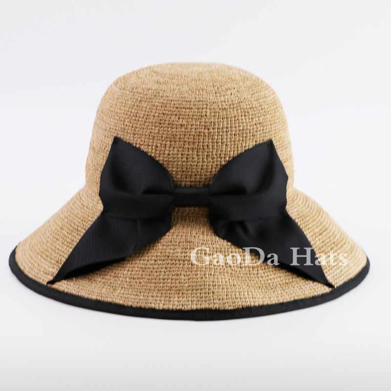 Deep blue bowknot decoration 100% straw cloche hats