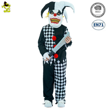 Boys Evil Jester Costumes Kids Scary Clown Killer Imitation Fancy Clothes Halloween Party Grim Buffon Evil Clown Costume