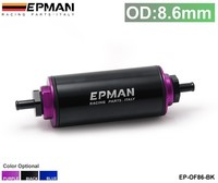 EPMAN -Racing Ready Inline Fuel Filter 8.6MM Blue with 100 Micron Element Steel SS Universal High Pressure EP-OF86-BK