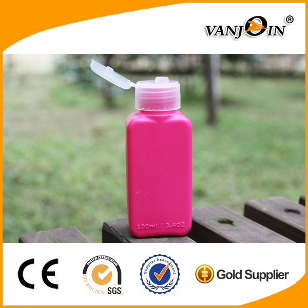 100ml Pink Rectangle Shampoo Bottle with Flip Cap