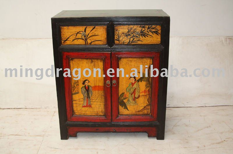 antique Chinese hand painted night stand