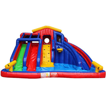 2019 new design Beautiful Colorful Backyard Inflatable Water Slide with pool