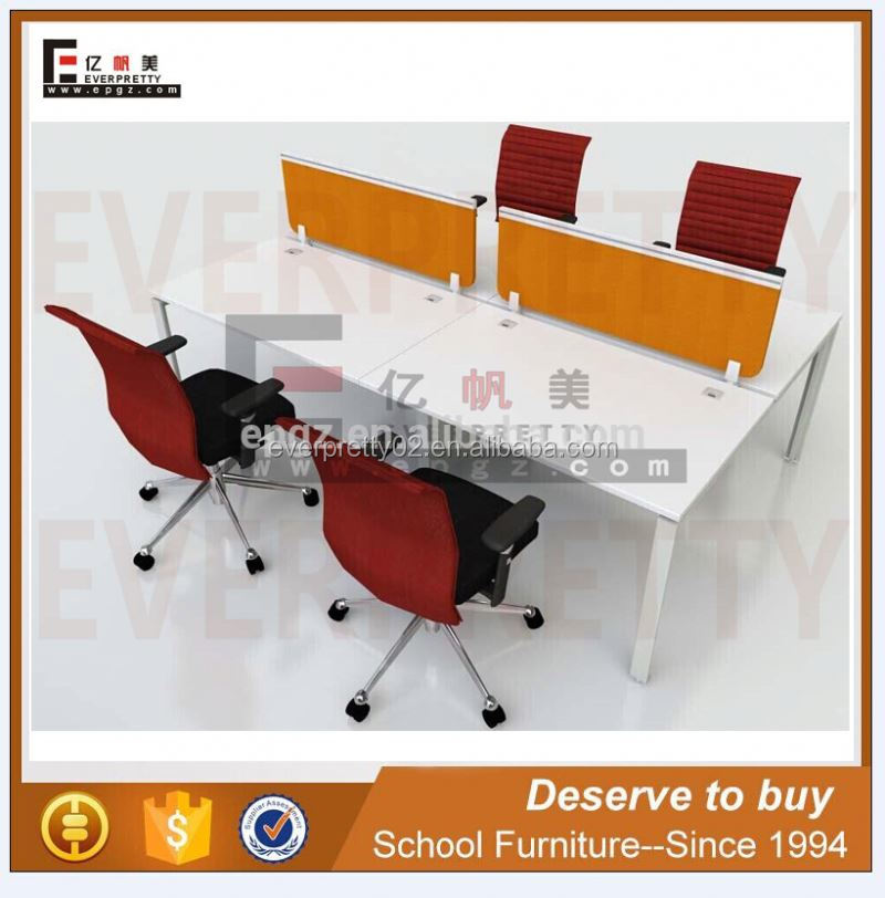 4 Seat Office Workstation Cubicle Wrought Iron Table Frame Cheap Computer Desk