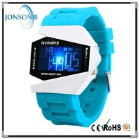 Rocket silicone men led digital watches with blue color watch face