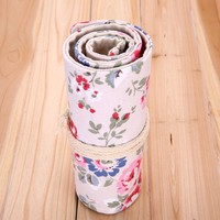 Fashion 36 Holes Peony Floral Pencil Roll Up Bag Canvas Pencil Case Wrap