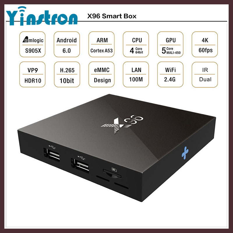 X96 1G 8G Amlogic S905X Quad Core Android 6.0 TV Box Wifi 2.0A 4K*2K Kodi Marshmallow Media Player Android Streaming TV box