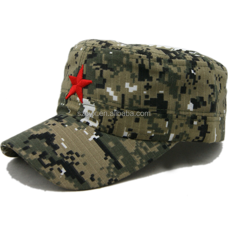 Hot sales camo flat top round military army baseball cap