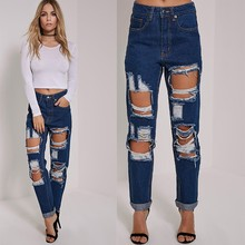 Russia Ladies Brand Name Worn Ripped Refurbished Jeans Of Women Sexy Pants Pictures