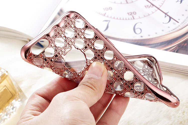 Luxury Electroplated Grid Diamond Cellphone Case for iPhone5 5s SE 6 6s 6Plus 6sPlus Soft Bling Crystal Phone Back Cover