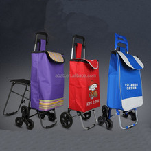 600D Polyester PVC coated 6 wheel shopping cart bags for climbing stair Pull Cart with Wheels
