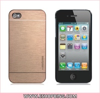 motomo Wire Drawing Plastic Case for iphone 4 4S Luxury Gold
