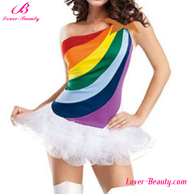 Colorful rainbow girls sex party dress costumes