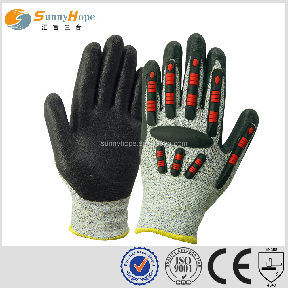 sunnyhope 7gauge acrylic fiber+ HPPE mixed knitted Cut resistant working safety gloves