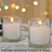 Flamless round glass wax filled tealight candle