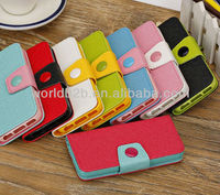 2013 Hot Selling Two Tone Leather Cell Phone Case for iPhone 5C mini Lite with stand and card slots design
