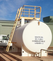 Large volume above ground diesel storage tank with ladder and platform