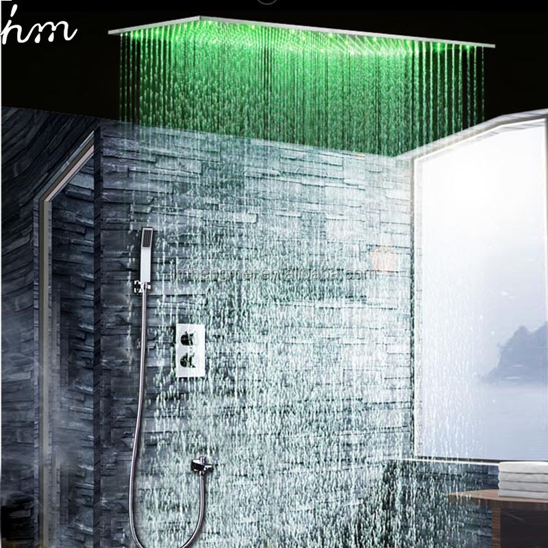 20'' * 40'' Ceiling Large Rain Douche 3 Colors Changing LED Temperature Sensor Shower Head Thermostat Shower Set
