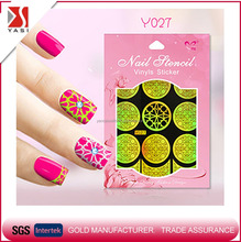 2016 flower laser gold silver nail art vinyl sticker manicure guide stamp plate sticker DIY nail stencil