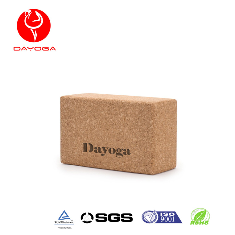 DAYOGA Eco Friendly Custom Logo Printed Cork Yoga Block Brick