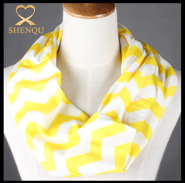 Wholesale 100% Polyester Abstract Printed chevron Infinity scarf