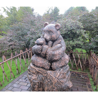 bronze life size panda mother and baby statue for garden