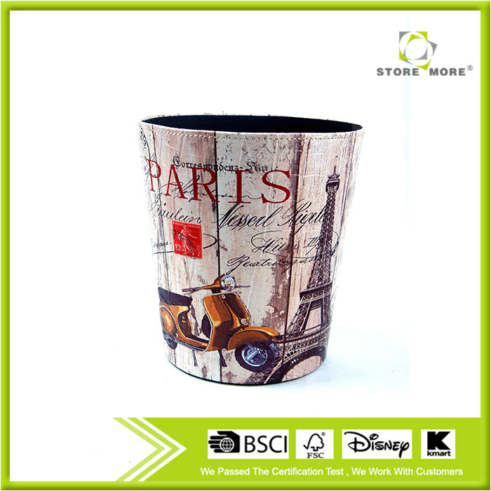 2016 Eiffel Tower Paris Print Waste Bin Faux Leather Dustbin