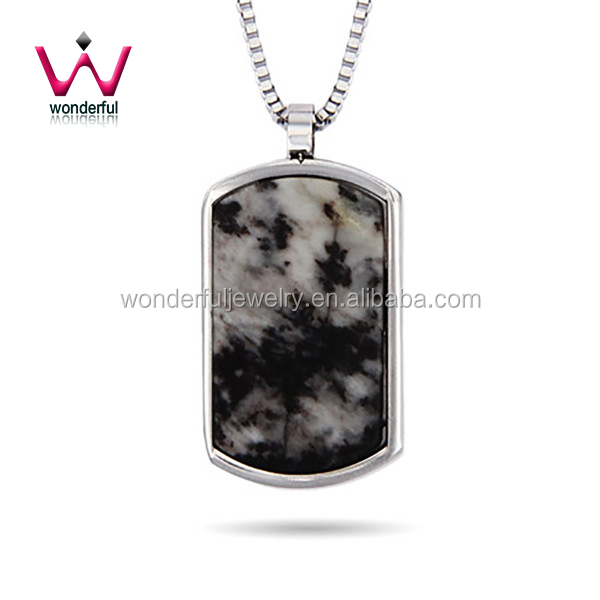 Designer Inspired Engravable Marbled Agate Stone Dog Tag Pendant