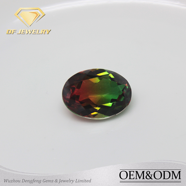 Newest Synthetic Watermelon Wholesale Oval Tourmaline