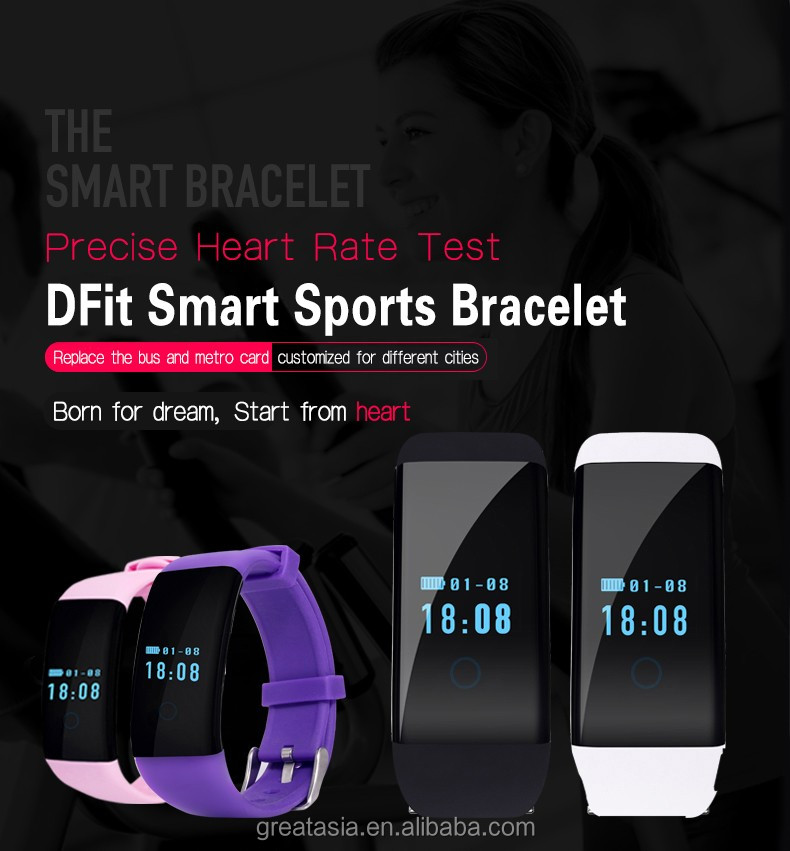 D21 DFit Smart Bracelet Wristband w/ Pedometer Heart Rate Sports Fitness Tracker Bracelet Watch For IOS Android