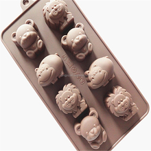NEW Cute Animal Lion Bear Hippo Chocolate Candy Cookie Silicone Baking Pan Mold