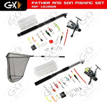 Fishing Rod with Reel and Net and Other Accessories
