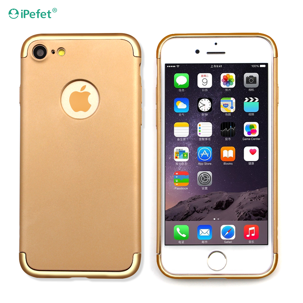 iPefet- 3 in 1 Hybrid TPU & Plastic Slim Smooth Golden Detachable cell phone covers for iPhone 7