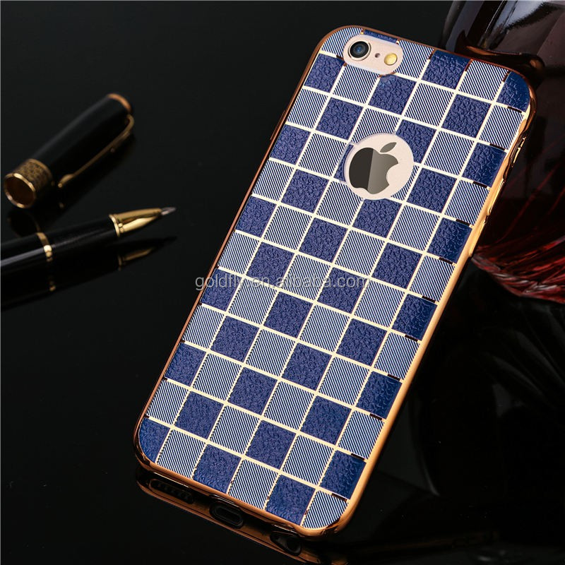 Plating Soft TPU protect cover Luxury ultra thin Leather Texture Grid Style phone cases For iPhone 6 6S 6Plus 6sPlus 7 7Plus