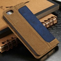 Jean PU Leather Case for iPhone 5s, for iPhone 5 Case Cover, Smart Phone Case for iPhone 5s