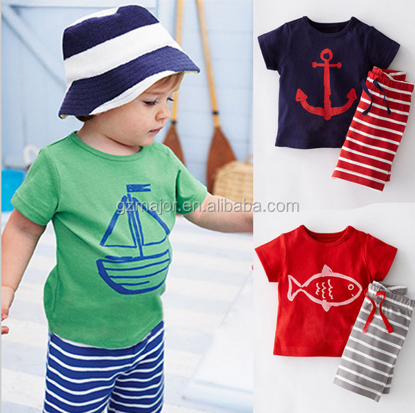 2016 Fashion Summer Boys Clothes Sets Kids Clothes Short-Sleeve Cartoon T-Shirt + Striped Pant Boys Clothing Set