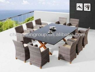 10 Seater Outdoor Dining Set Wicker Patio Dining Table Set Woven Seat Dining