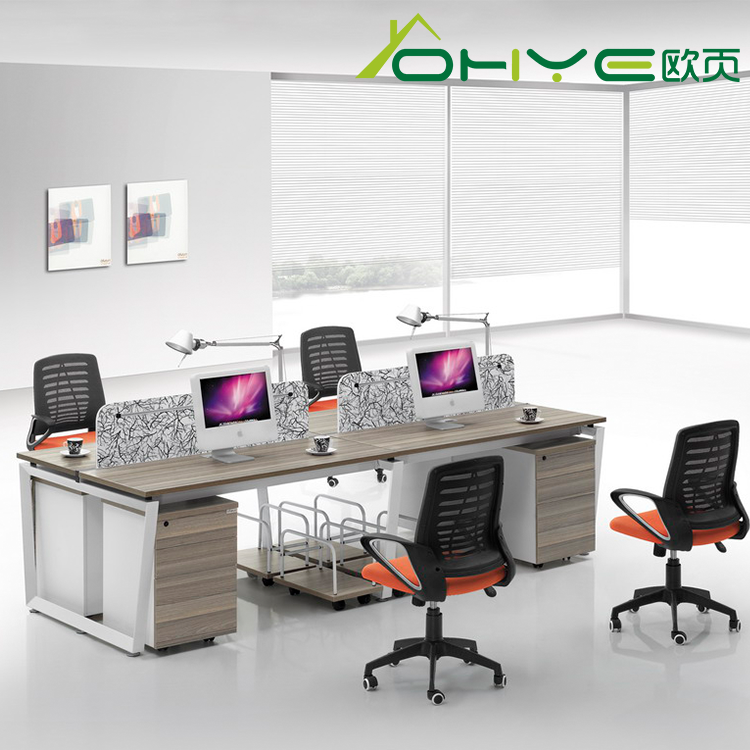 MFC wooden computer table design,steel legs modern office desk set
