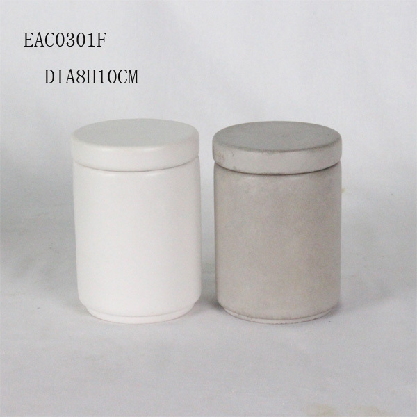 Concrete candle jars with vegetable soy wax and lids for home decor