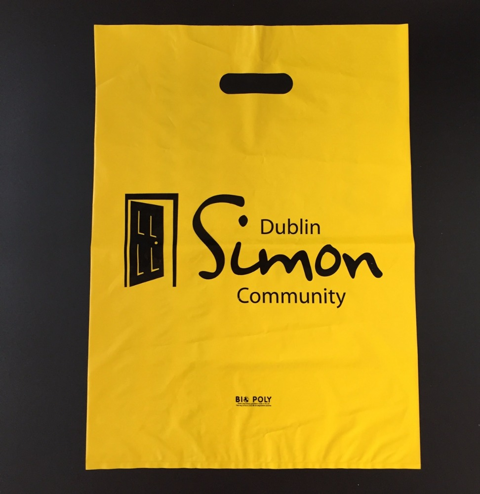 China factory best price custom logo printed Biodegradable Die Cut Carrier Punch Tote Plastic shopping Bag wholesale