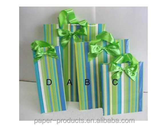 colorful stripe paper gift bags sets with ribbon bowknot