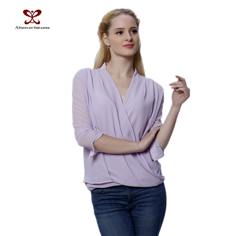 2016 Plus Size Women Clothing Fashion Chiffon Blouse Front Cross Sexy Colors Woman Clothes