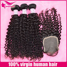 Full cuticle unprocessed no mixed mongolian kinky curly hair with closure