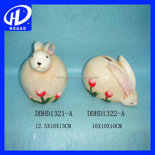 Colorful painted ceramic rabbit coin bank piggy bank