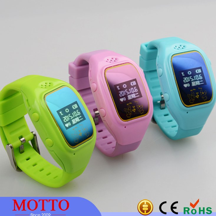 Green Gps Wrist Watch For Kids With SIM Card Slot SOS Phone Call