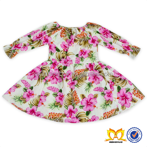 2017 Kids Floral Cotton Frocks Children Pink Party Dresses Wholesale Beautiful Girls Clothing.