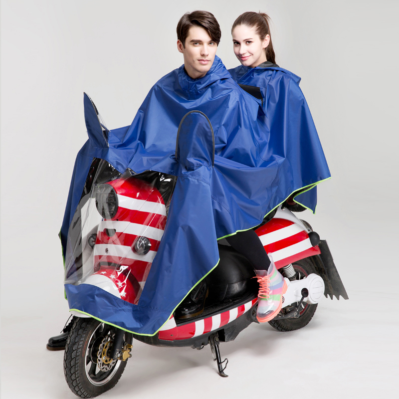 210T polyester with PU coated hooded black bike poncho raincoat