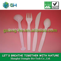 Biodegradable environmental friendly food grade safe pla plastic kitchen cutlery/utensil Knife/Fork/Spoon